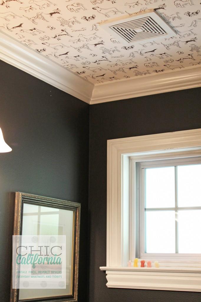 dog wallpaper, dark bathroom, navy blue bathroom