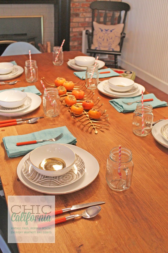 persimmons on table, fall table setting