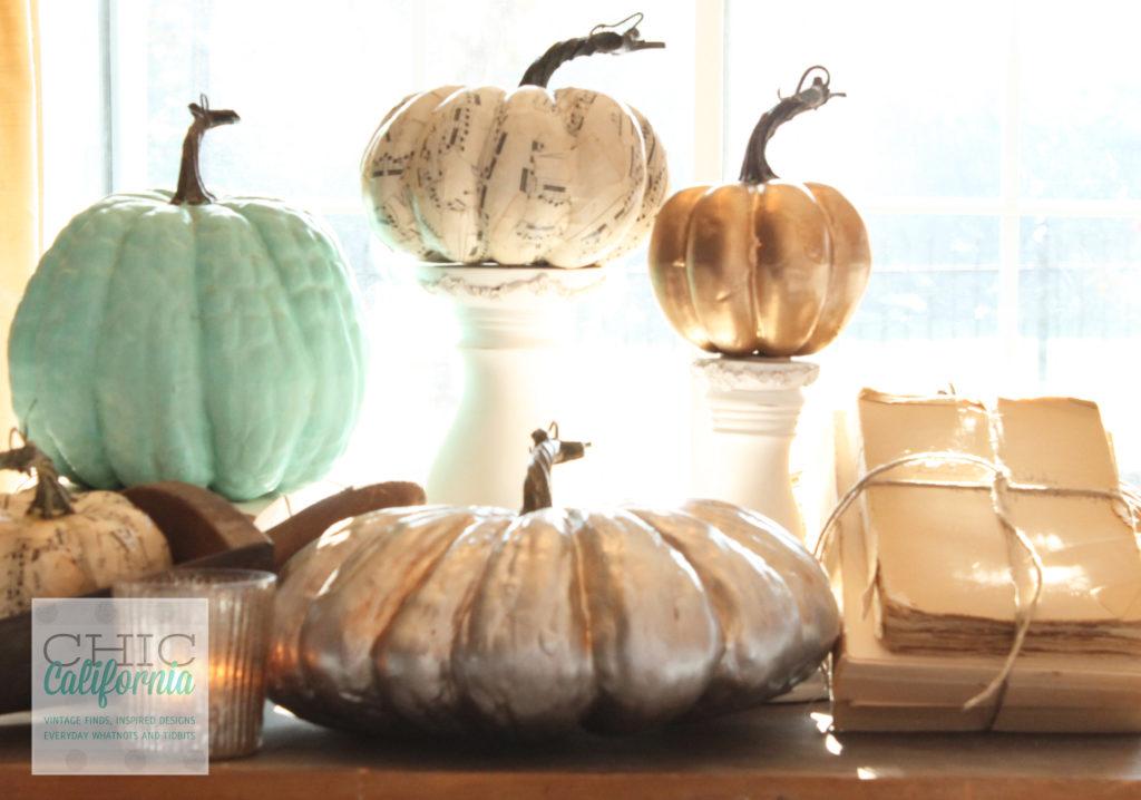 painted pumpkinds, decoupaged pumpkins, old books