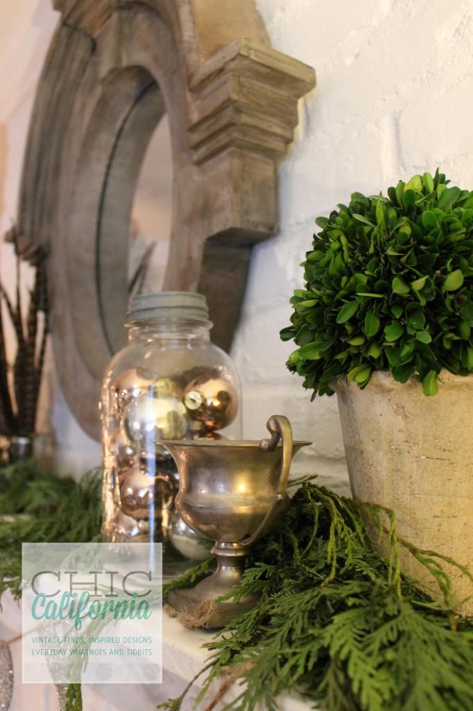 trophy, boxwood, vintage ornaments, ball jars