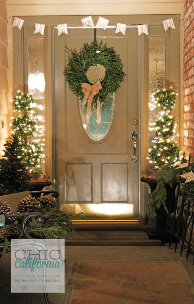 Holiday Decorations, Christmas Decorations, Boxwood wreath, Front Door, Christmas LIghts, Holiday Entry