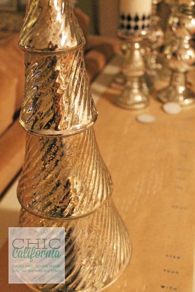 mercury glass, christmas decorations,