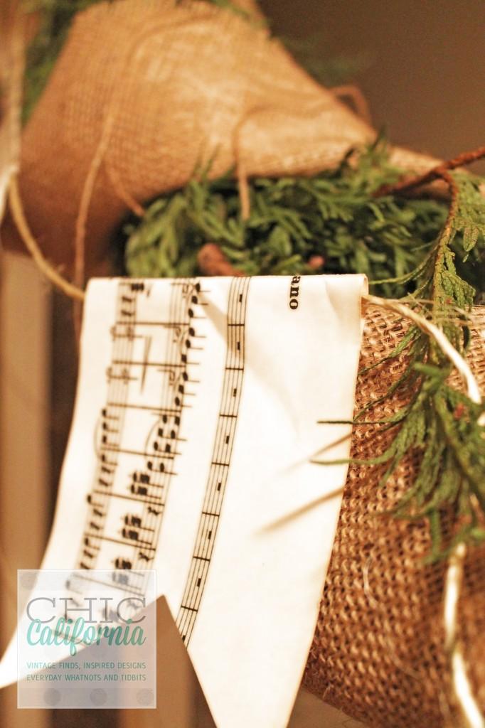 holiday decorations, music sheet garland
