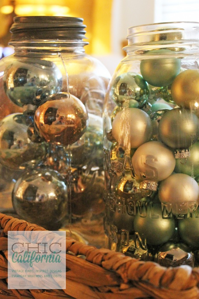 vintage ornaments, ornaments in ball jar, decorating with vintage ornaments
