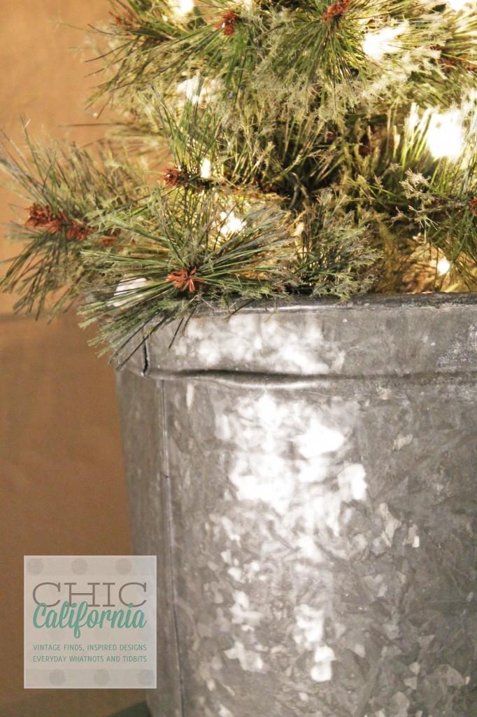 vintage sap bucket, christmas tree in bucket