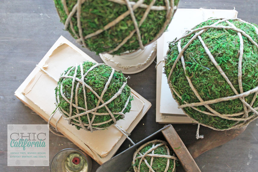 Bring the outdoors in with diy moss covered garden balls