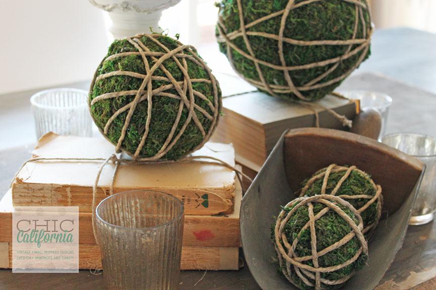 Moss Covered Garden Balls Centerpiece