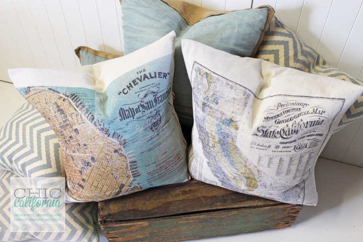 24 Handmade Gift Ideas for Men includes these DIY Map Pillows
