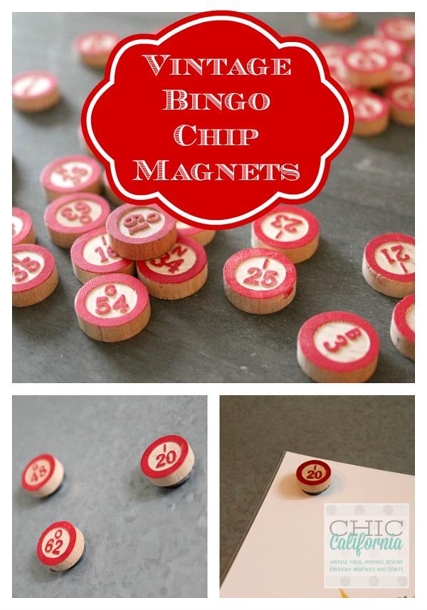 Vintage Bingo Chip Magnets