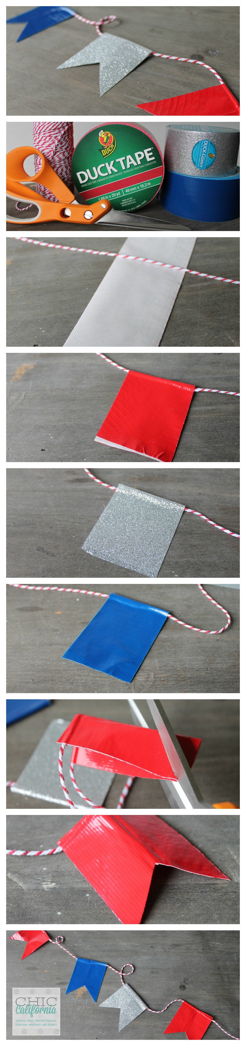 Inspired design monday duck tape 4th of july banner for Super easy duct tape crafts