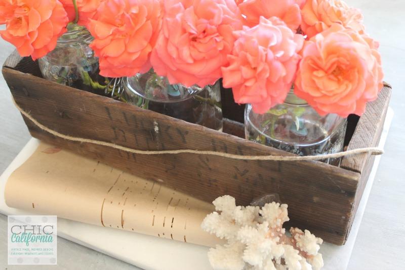 Roses in Vintage crate