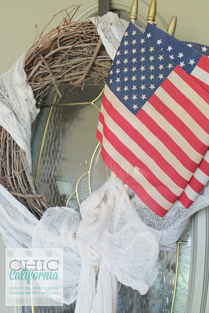 Tea Stained American Flag Wreath