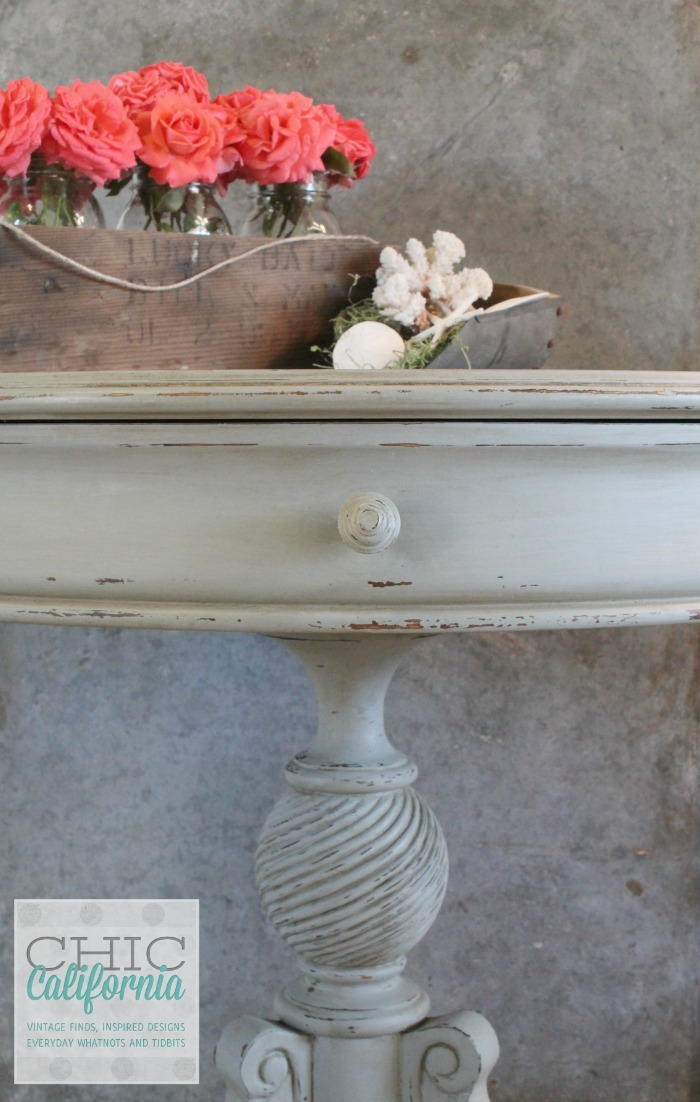 pedestal table painted with Sweet Pickins Milk Paint in Galvanized