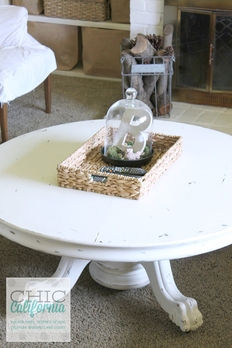 Vitnage Pedestal Table turned into a coffee table from Chic California