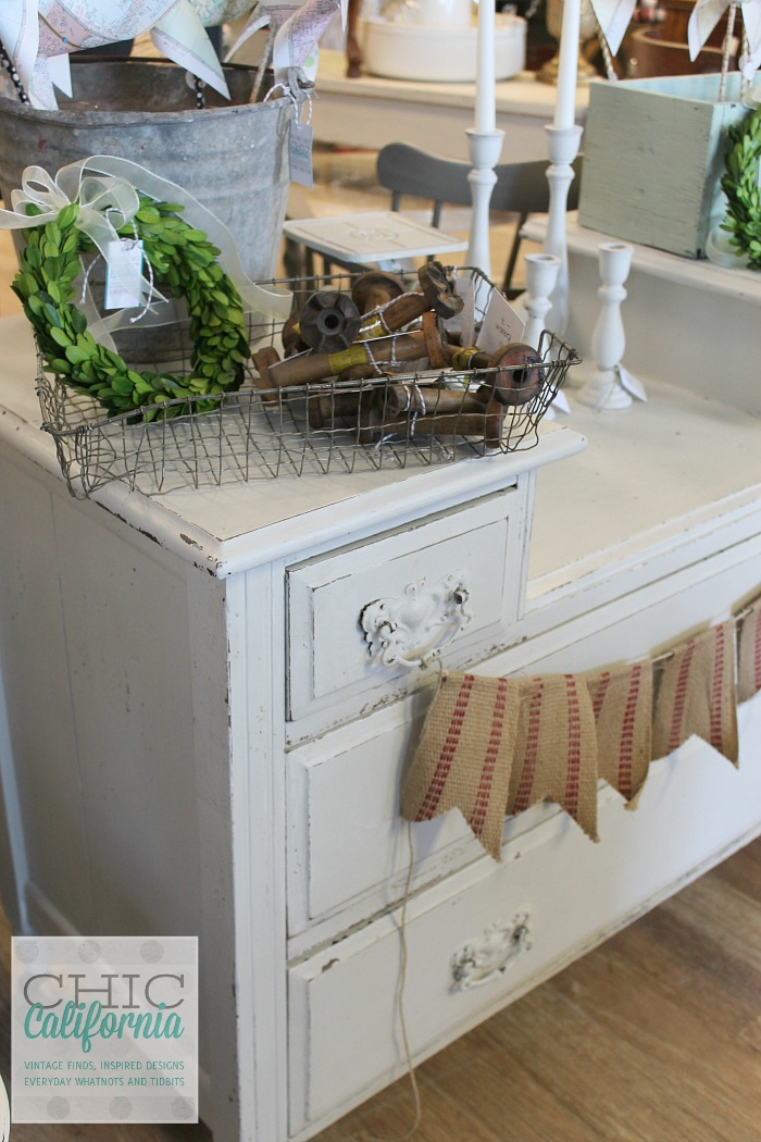 White dresser display by Chic California