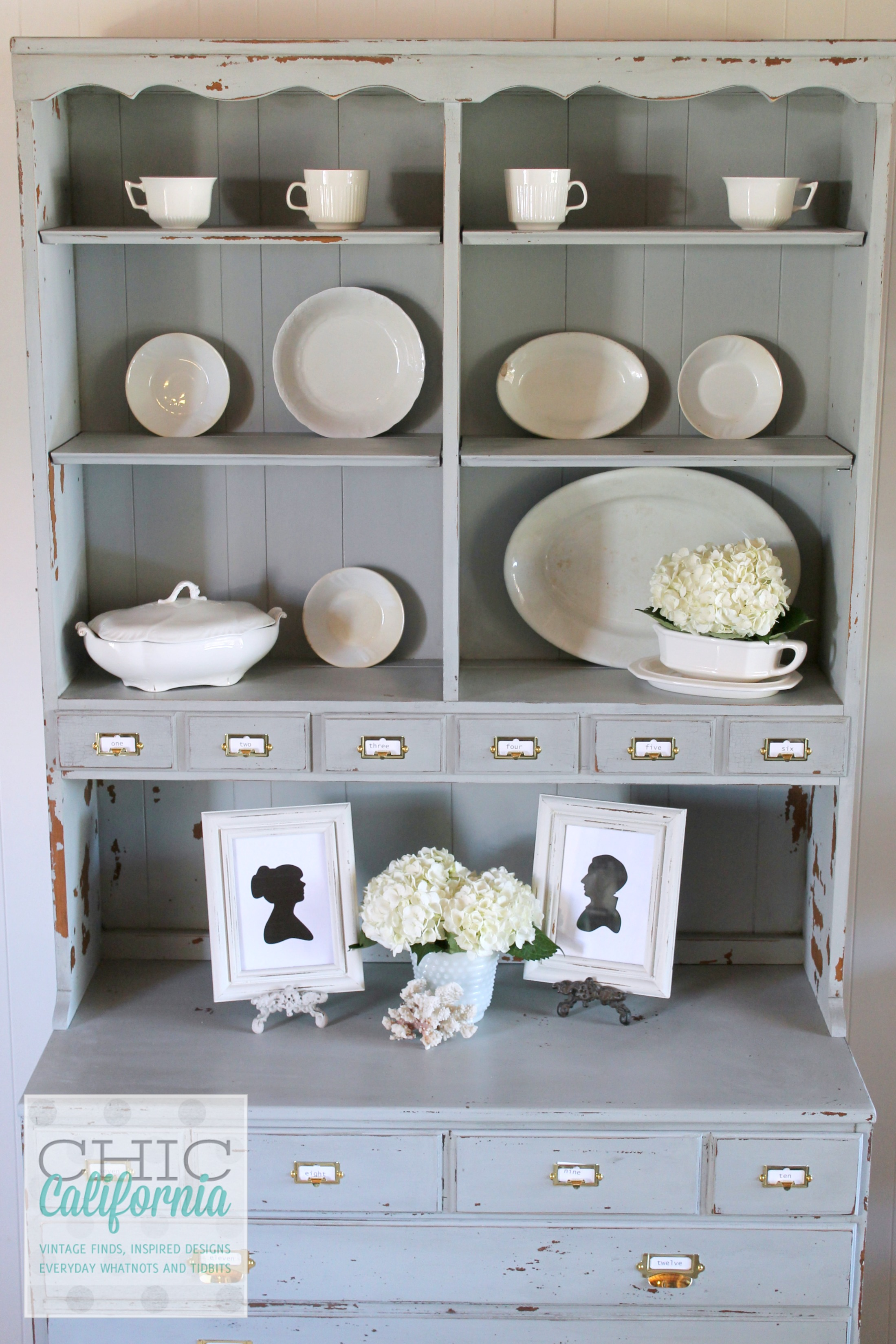 Gray Hutch Makeover from Chic California