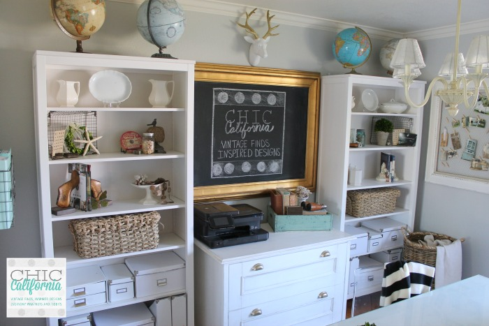 Book Shelves in Home Office/Craft Room Makeover by Chic California