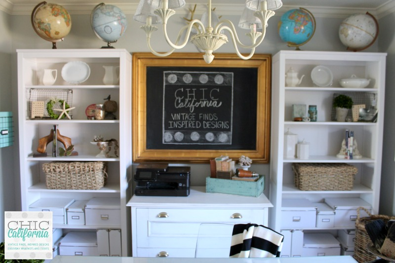 Bookshelves in Home/Office Craft Room Makeover Room Reveal by Chic California