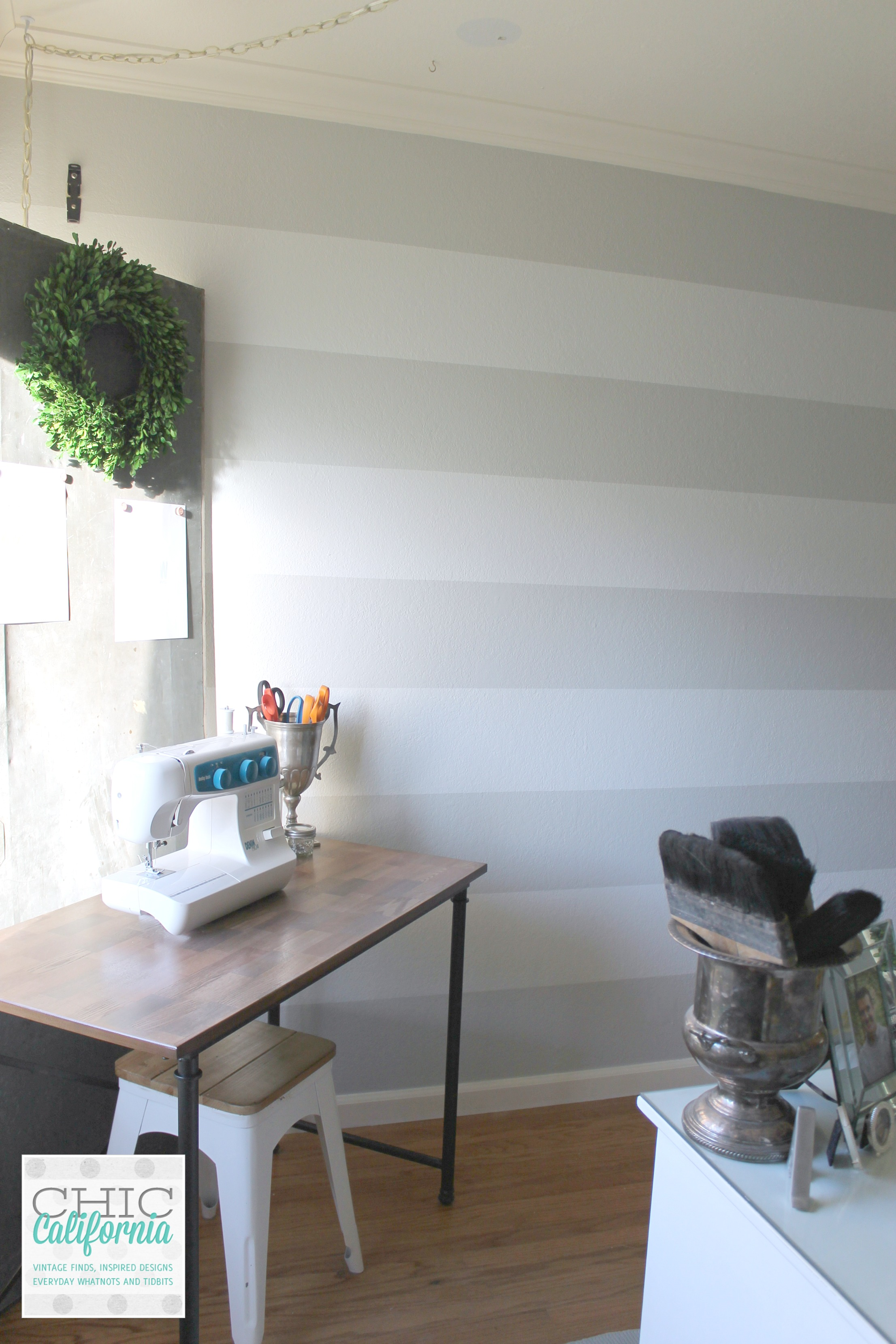 Craft Room Stripes in Gray Owl and White Wisp