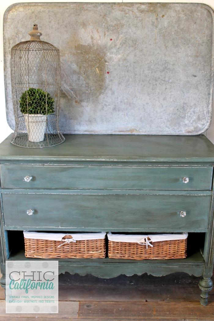 Dresser painted in Sweet Pickins Milk Paint in Ocean