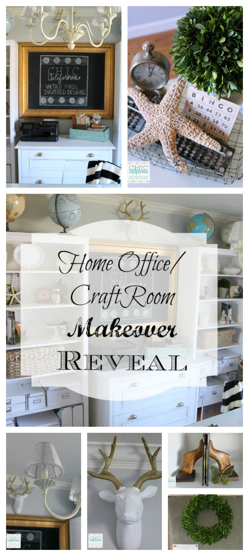 Home office Craft Room Makeover by Chic California