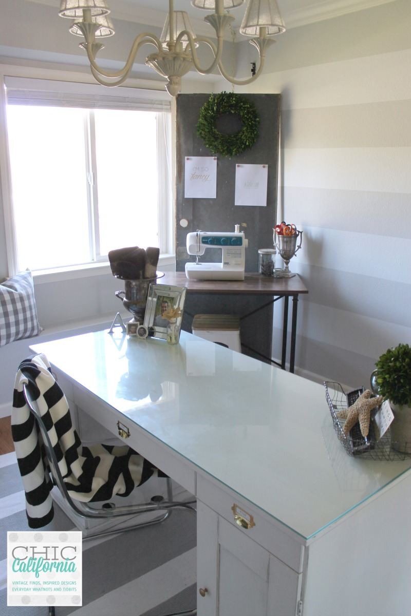 Gray and White Striped Wall by Chic California