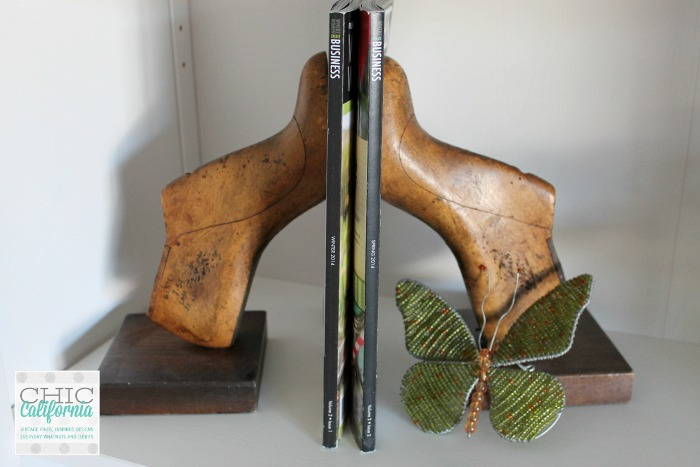 vintage shoe form book ends- Chic California