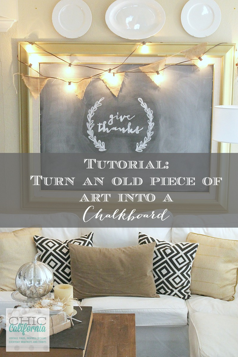 Tutorial on how to transform an old piece of art into a chalkboard. Get a new look for hardly any money!