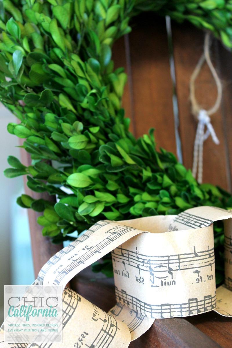 boxwood and music sheet chain