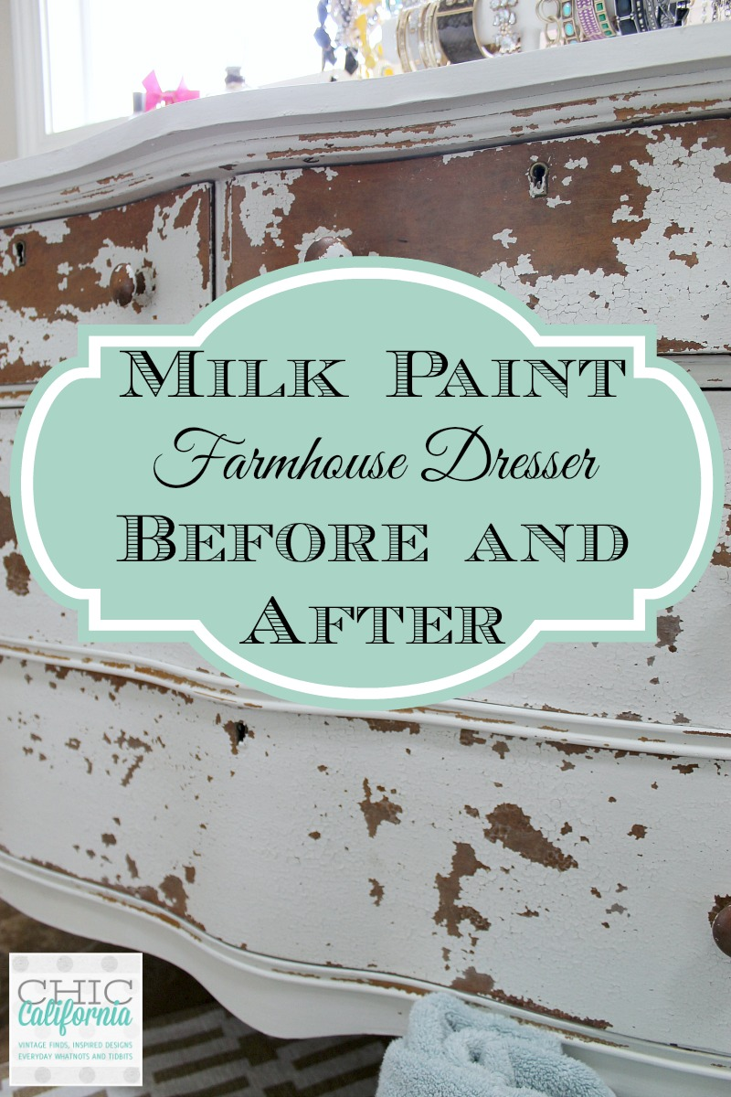 Milk Paint Farmhouse Dresser Before and After