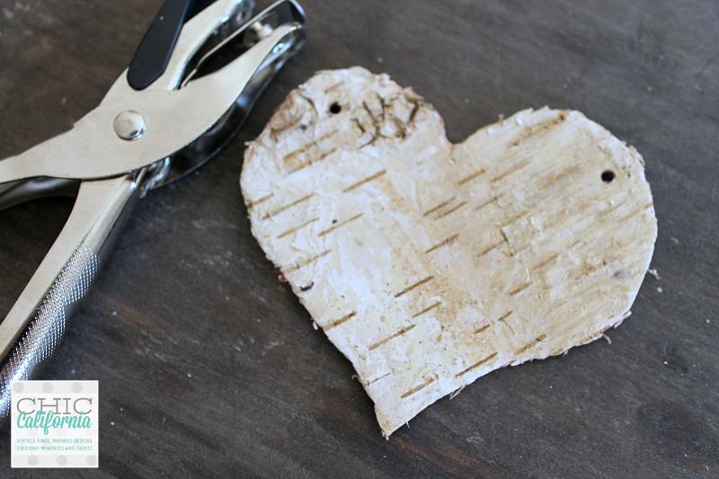 hole punch in birch bark heart: Valentines Day craft