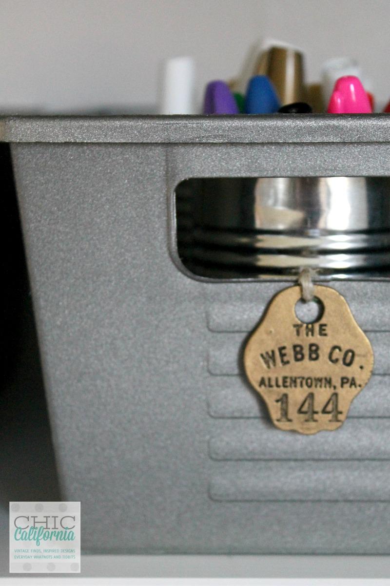 Dollar Store Organizing with a DIY vintage style locker bin