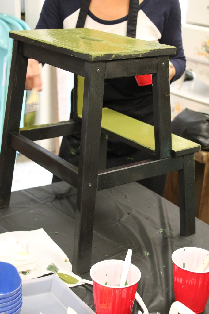 Green step stool