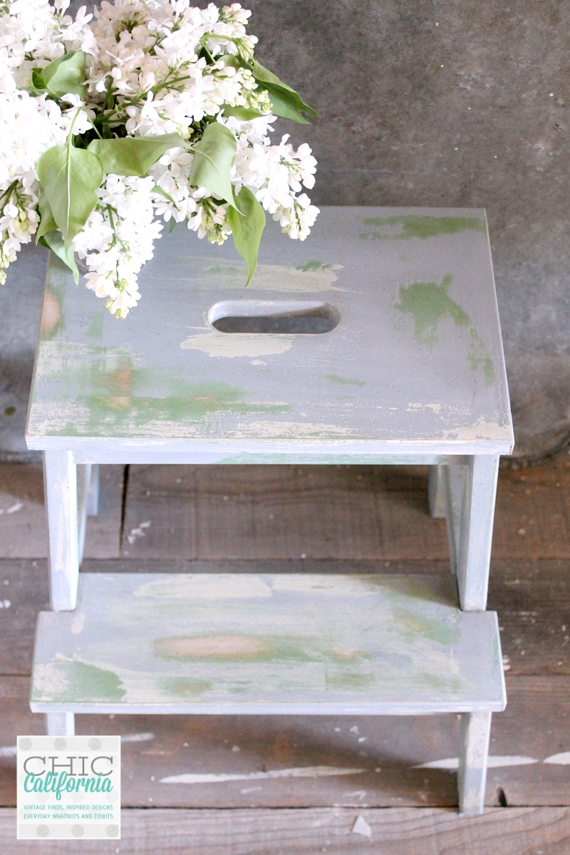 vintage style ikea step stool makeover chic california