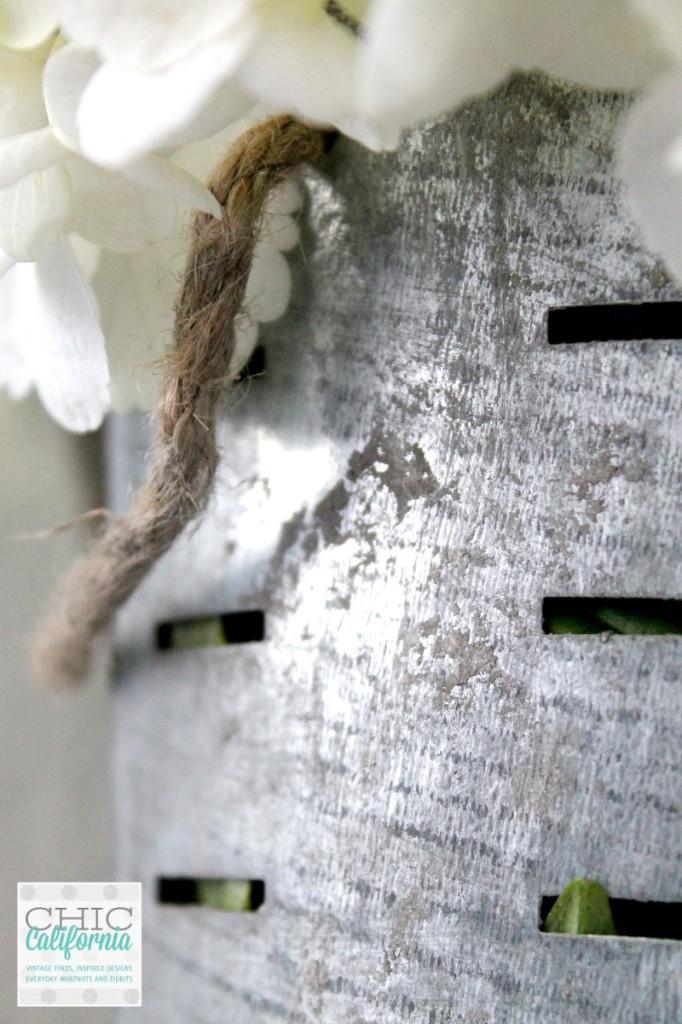 closeup of aging dust on bucket