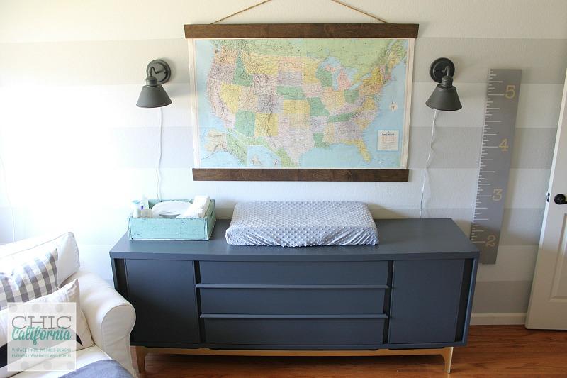 Mid Century Modern Dresser and Vintage Map in nursery