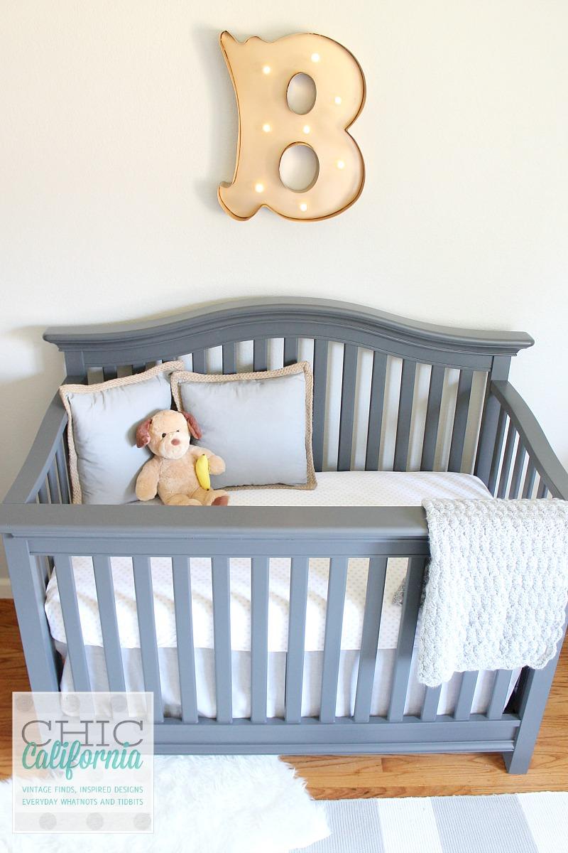 gray painted crib