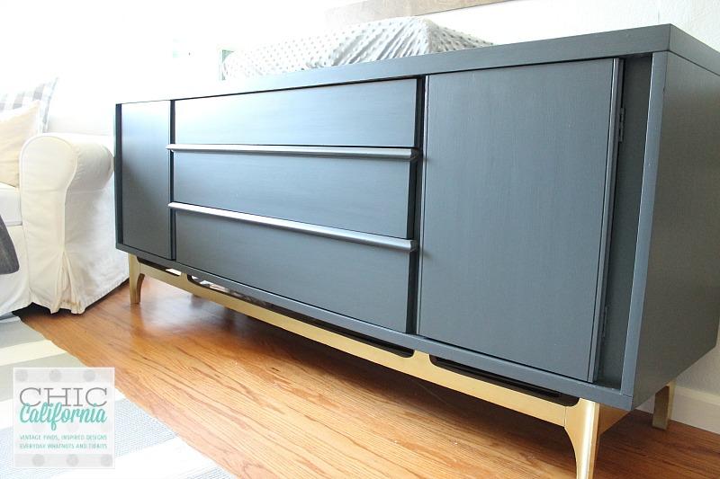 Gray painted Mid Century Dresser