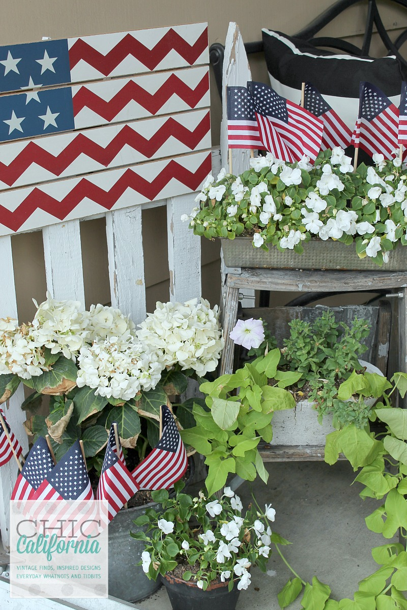 4th of July Flowers on Front Porch
