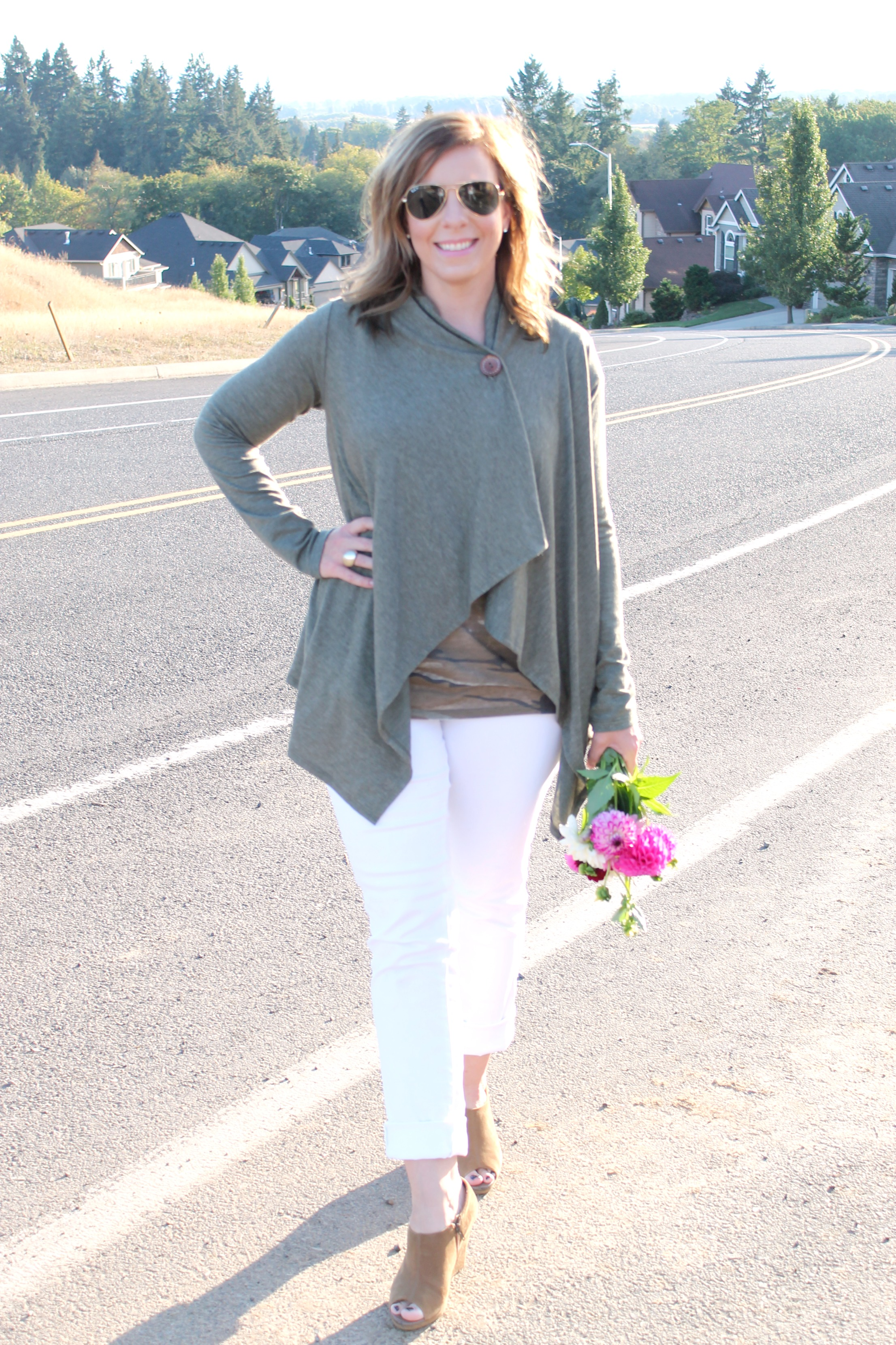 Army Green Wrap and White Jeans
