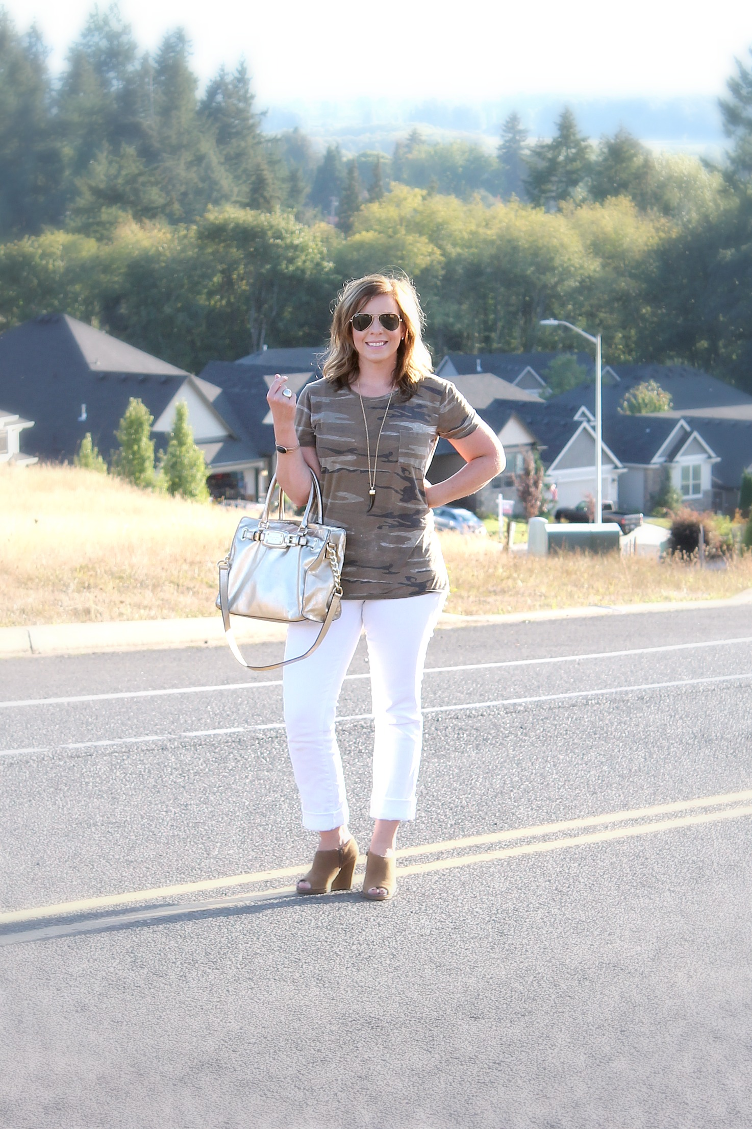 Gold Purse and White Jeans