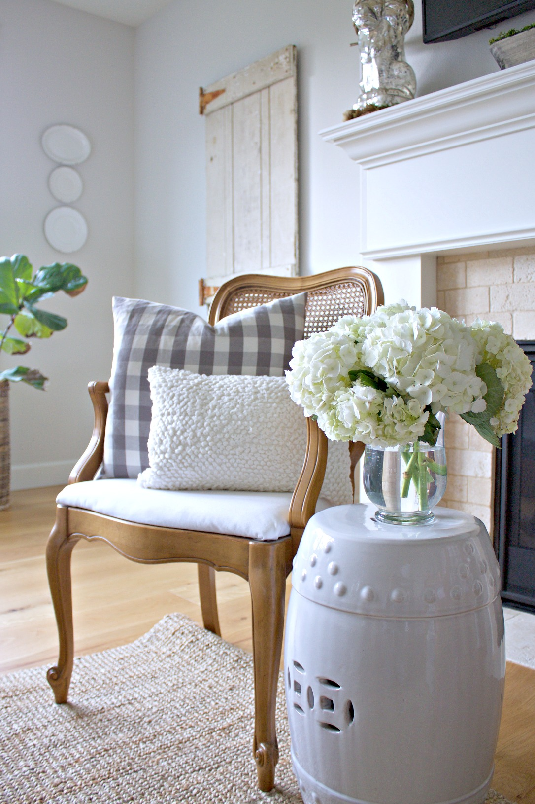 French Cane Chair and Hydrangeas