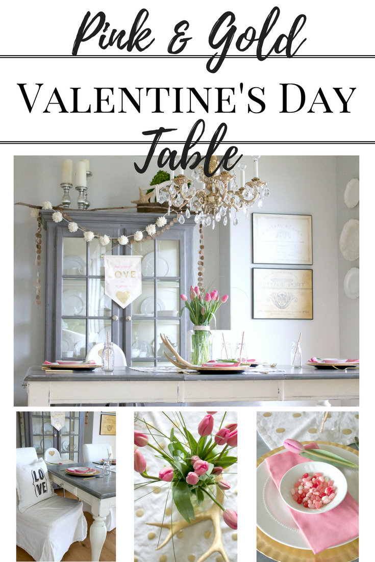 Pink and Gold Valentine's Day Table