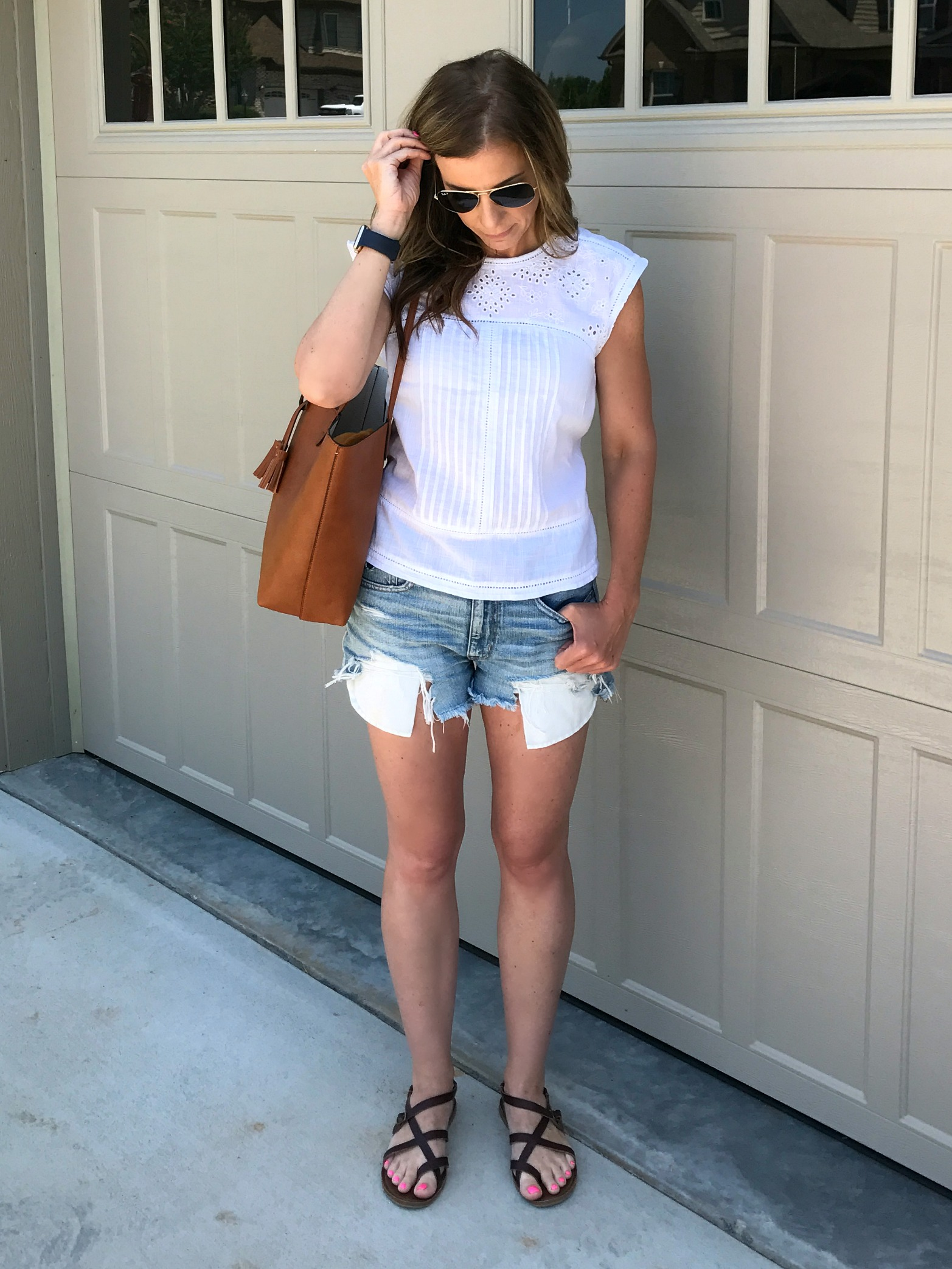 White Top and Jean Shorts