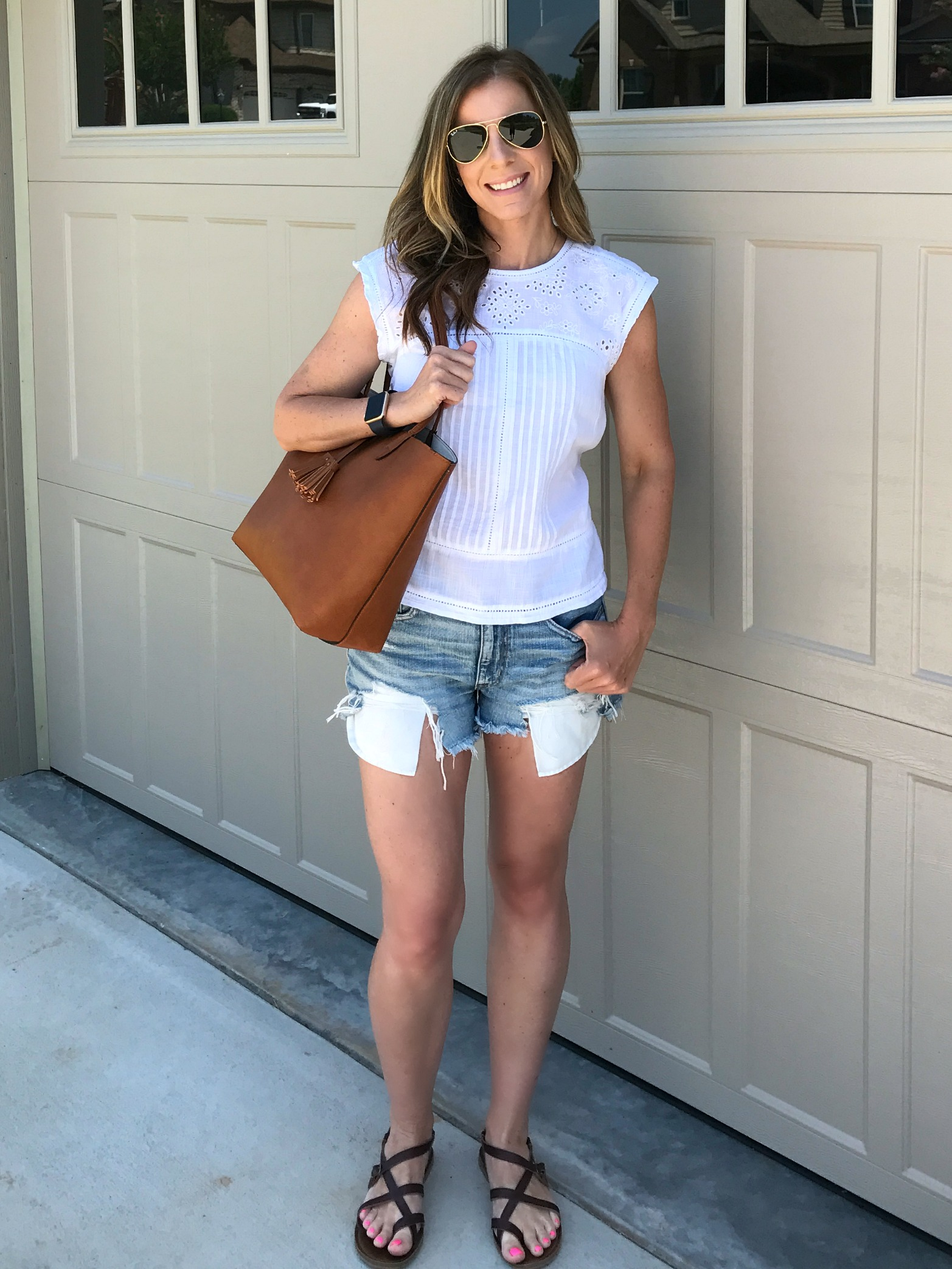 White Summer Top and Jean Shorts