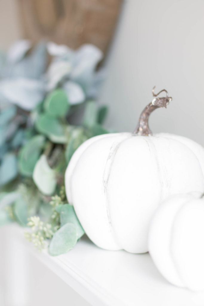 Chic California // Transitional Stlye Fall Mantel Decor with White Pumpkins