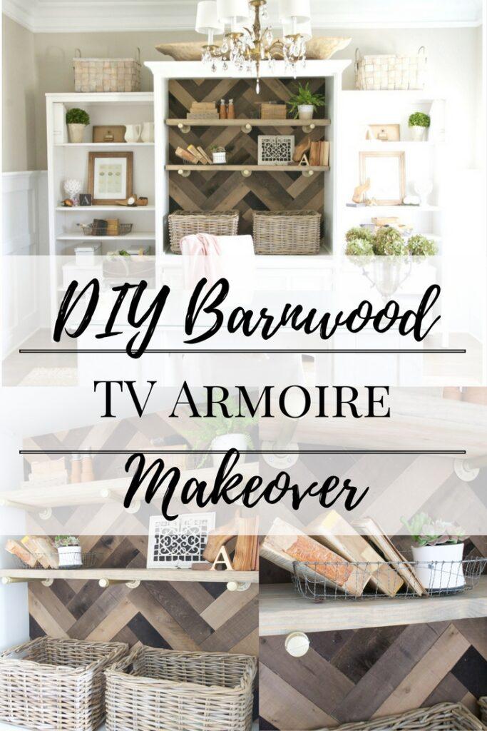 DIY Barnwood TV Armoire Makeover