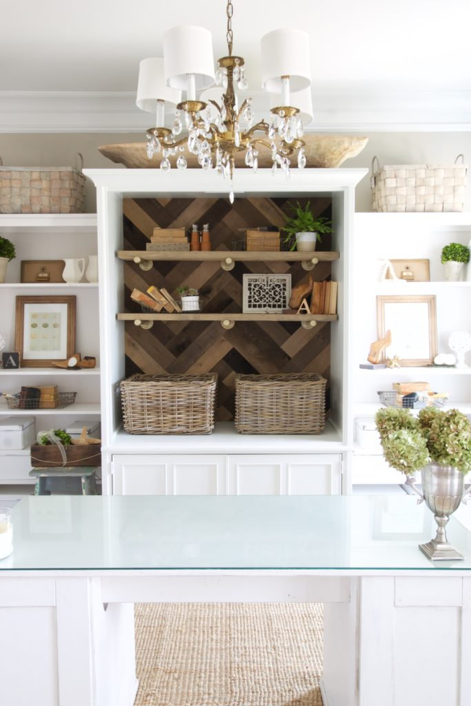 Home Office Makeover using an old tv armoire and reclaimed brand