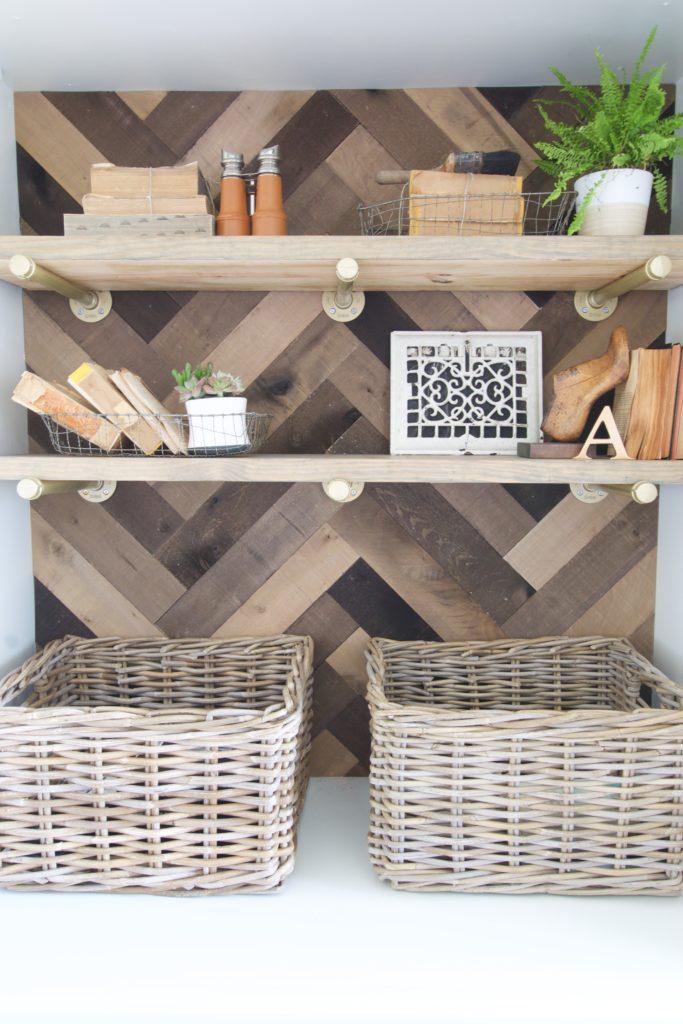 Home Office Storage Makeover using Herringbone pattern brand