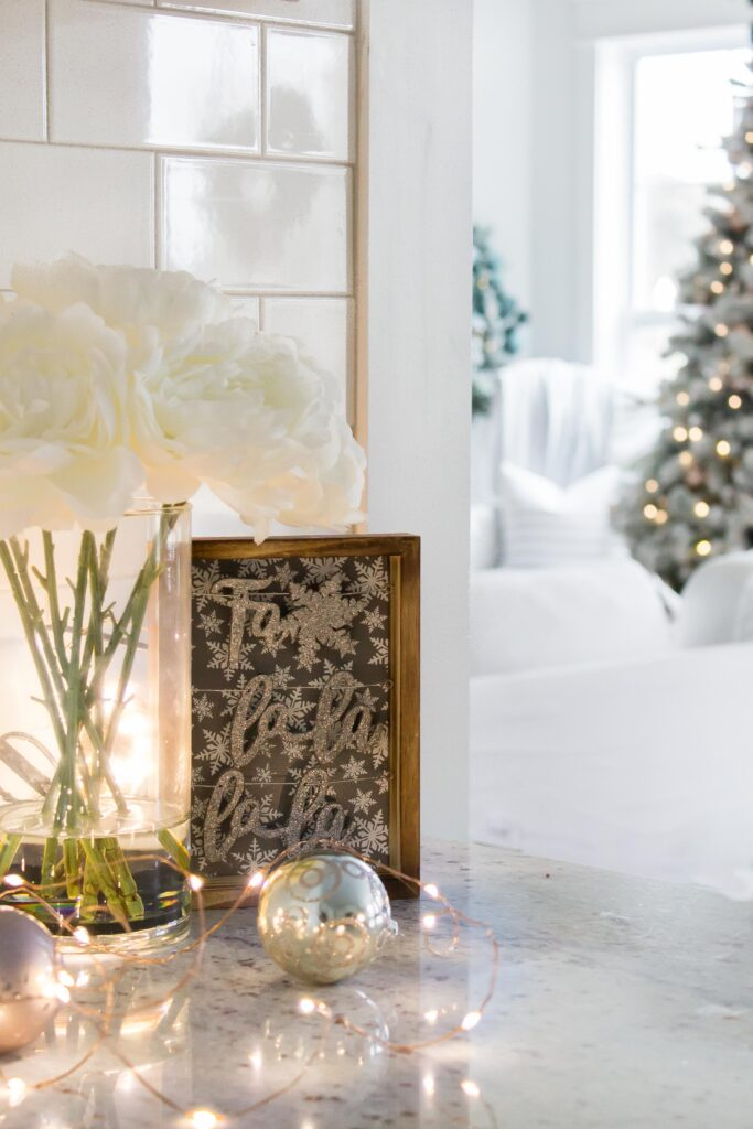 Roses and Twinkle Lights | Modern Farmhouse Christmas Home Tour